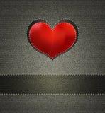 jeans texturerar och Silk hjärta royaltyfri illustrationer