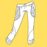 Jeans, trousers pants. Fashion Illustration. CAD. Technical Drawing. Specification Drawing Royalty Free Stock Images