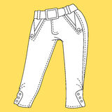 Jeans, trousers pants. Fashion Illustration. CAD. Technical Drawing. Specification Drawing Stock Photo