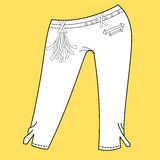 Jeans, trousers pants. Fashion Illustration. CAD. Technical Drawing. Specification Drawing Stock Images