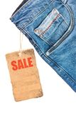 Jeans trousers sale label template mockup. Isolated on white royalty free stock photo