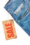 Jeans trousers sale label template mockup. Isolated on white stock photos