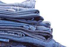 Jeans trousers stack closeup Stock Photography