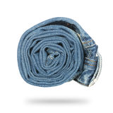 Jeans twisted in roll isolated Stock Photo