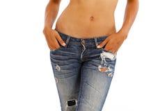 Jeans und bloße Oberseite stockbilder