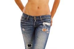 Jeans und bloße Oberseite lizenzfreie stockfotografie