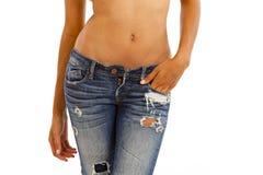 Jeans und bloße Oberseite lizenzfreies stockbild