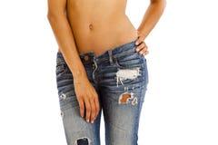 Jeans und bloße Oberseite lizenzfreie stockfotos