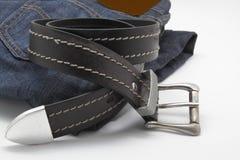 Jeans und Gurt Stockfotos
