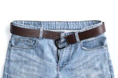 Jeans upper and belt isolate on white background Royalty Free Stock Images