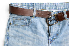 Jeans upper and belt isolate on white background Royalty Free Stock Photos