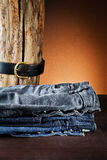 Jeans a variety of colors Stock Photo