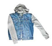 Jeans vest with hoodie. Jeans vest with hoodie isolated on white background stock photography