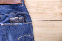 Jeans with wallet Royalty Free Stock Photo