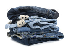 Jeans on white close up Royalty Free Stock Images