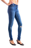Jeans, Woman waist wearing jeans Royalty Free Stock Photography