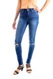 Jeans, Woman waist wearing jeans Stock Photo