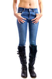 Jeans, Woman waist wearing jeans Royalty Free Stock Photos