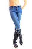 Jeans, Woman waist wearing jeans Stock Images