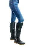 Jeans, Woman waist wearing jeans Royalty Free Stock Images