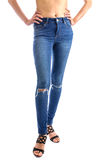 Jeans, Woman waist wearing jeans Stock Photos