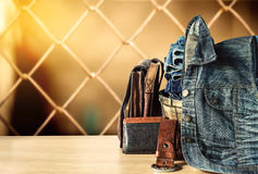 Jeans on a wooden Royalty Free Stock Images