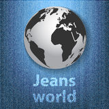 Jeans world concept with the globe on denim Stock Images