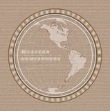 Jeans world concept with the globe on light color denim texture background. Vector illustration. Western hemisphere map on a light color jeans texture background vector illustration
