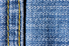 Jeans with yellow stitch Stock Photography