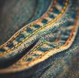 Jeans with yellow stitching thread Royalty Free Stock Photos