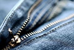 Jeans zip. Zip from a jeans,open, close-up royalty free stock photos