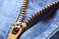 Jeans zipper closeup Stock Image