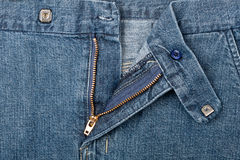 Jeans zipper closeup Stock Images