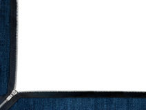 Jeans and zipper frame over white Royalty Free Stock Image