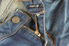 Jeans zipper open. Stock Images