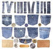 Jeansbeståndsdelar som isoleras på vit Royaltyfria Foton