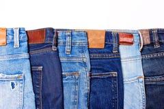 Jeansblauw op een rij Stock Afbeeldingen