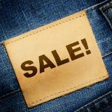 JeansetikettFÖRSÄLJNING Arkivbild