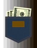 Jeansfack med dollar Fotografering för Bildbyråer