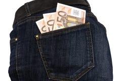 Jeansgeld in Ihrer Tasche Stockbilder