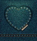 Jeansherz-Erdölblau, ich liebe dich Stockfoto