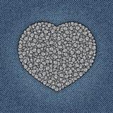 Jeanshjärta med paljetter Arkivfoton