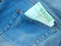 Jeanskortslutningar med bankräkningen för euro 100 i fack Royaltyfri Fotografi