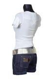 jeanskortslutningar vest white Royaltyfria Bilder