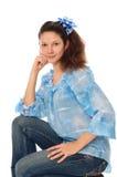 jeanskvinna Arkivbilder