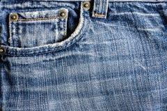 Jeansnärbilden som är gammal, stoppa i fickan tillbaka, framdelen, skrynkligt som är trasig Arkivbild
