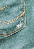 Jeansnärbilden som är gammal, stoppa i fickan tillbaka, framdelen, skrynkligt som är trasig Arkivfoto