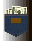 Jeanstasche mit Dollar Stockbild
