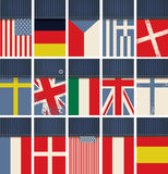 Jeanstyg med flaggor stock illustrationer