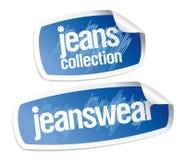 jeanswear etiketter för samling Fotografering för Bildbyråer